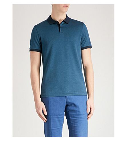 BOSS Geometric-print cotton-piqué polo shirt (Navy