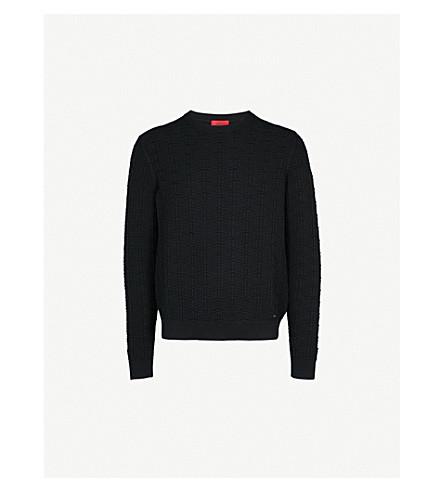 HUGO Textured cotton-knitted jumper (Black
