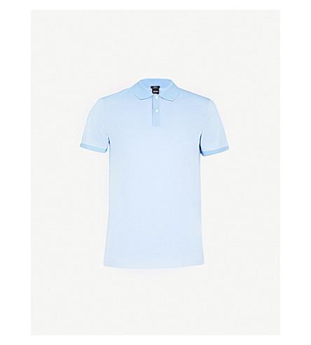 BOSS Striped cotton-jersey polo shirt (Light/pastel+blue