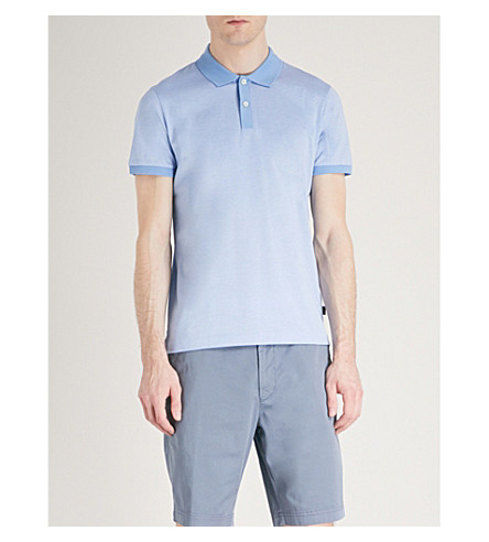 BOSS Striped cotton-jersey polo shirt (Light/pastel+blue