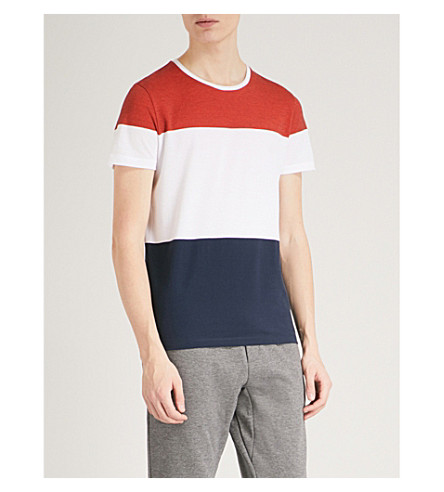 BOSS Striped cotton-piqué T-shirt (Medium+orange