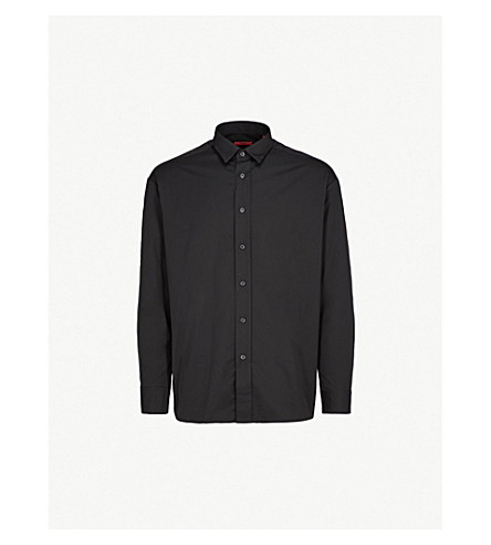 HUGO Logo-stripe slim-fit cotton shirt (Black