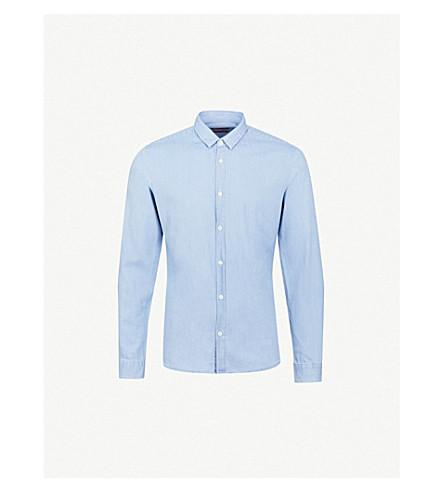 HUGO Pointed-collar extra slim-fit cotton shirt (Light/pastel+blue