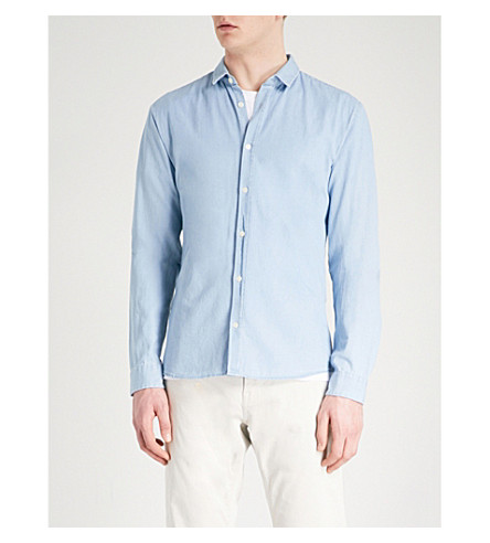 HUGO Pointed-collar extra slim-fit cotton shirt (Light/pastel+blue