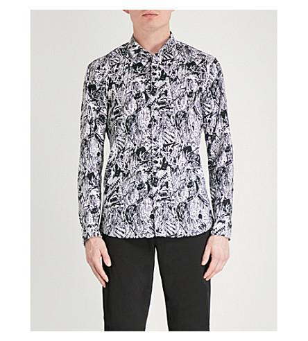 HUGO Abstract-print slim-fit cotton shirt (Black