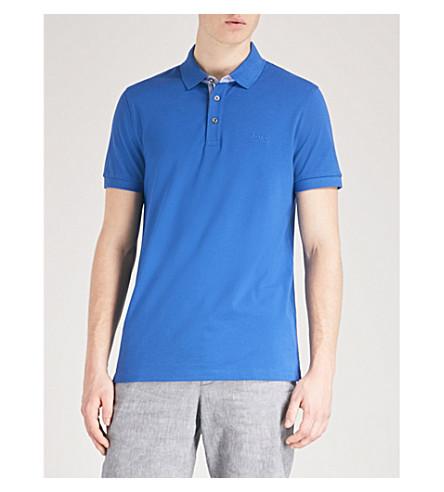 BOSS Slim-fit cotton-piqué polo shirt (Medium+blue