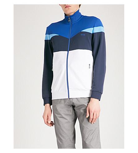 BOSS GREEN Colour-blocked jersey zip-up sweatshirt (White