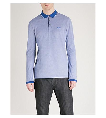 BOSS Regular-fit cotton-piqué polo shirt (Medium+blue