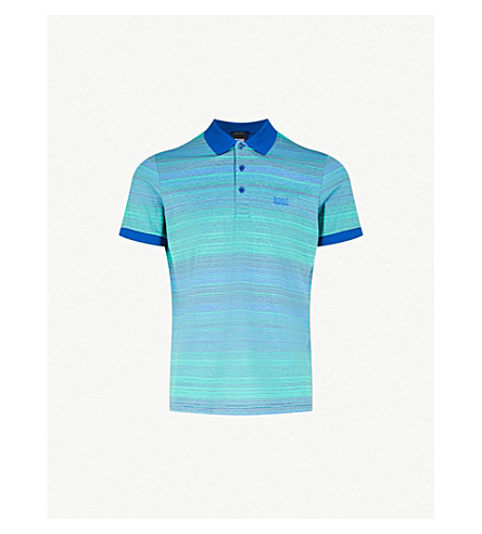 BOSS GREEN Striped cotton-jersey polo shirt (Open+blue