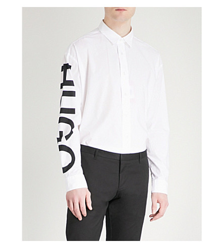 Blanco logo estampado Camisa algodón abierto regular corte con de de HUGO de Uqx7xB