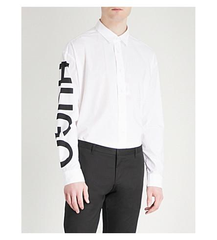 HUGO Logo-print regular-fit cotton shirt (Open+white