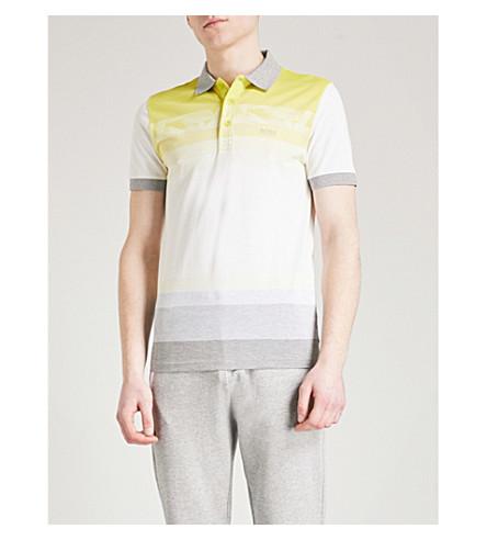 BOSS GREEN Striped cotton-piqué polo shirt (Bright+yellow