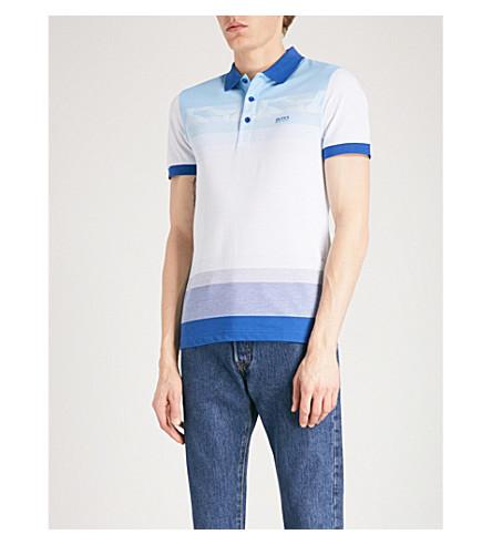 BOSS GREEN Striped cotton-piqué polo shirt (Medium+blue