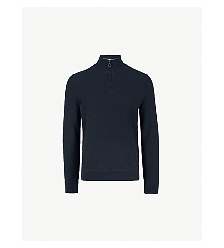 BOSS Half-zip cotton jumper (Navy
