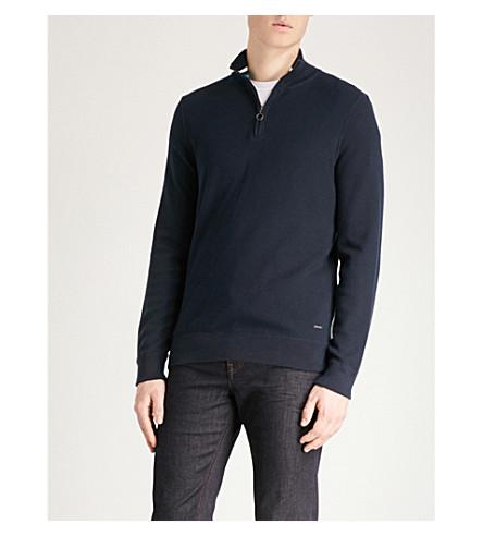 BOSS Half-zip cotton jumper (Navy