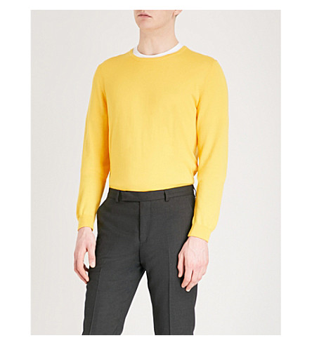 BOSS Fine-knit cotton jumper (Medium+yellow