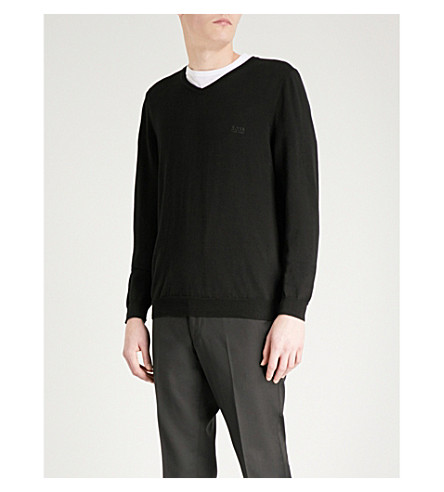 BOSS Leisure slim-fit cotton jumper (Black