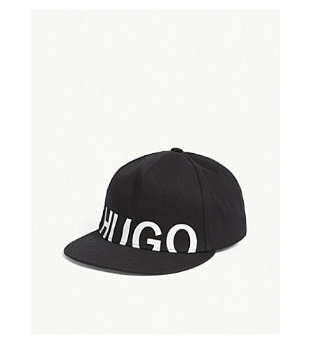 HUGO Logo cotton snapback cap (Black