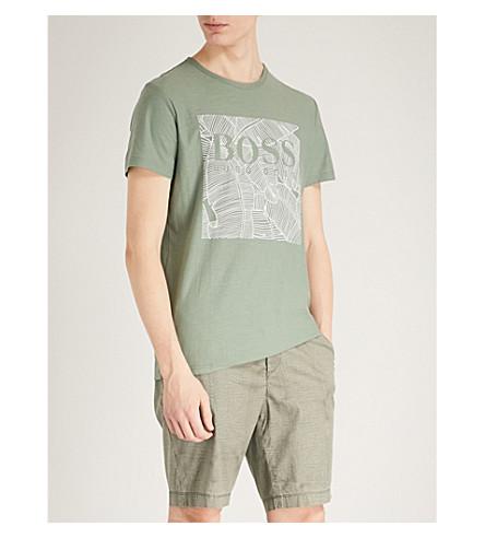 BOSS ORANGE Leaf-print cotton-jersey T-shirt (Light/pastel+green