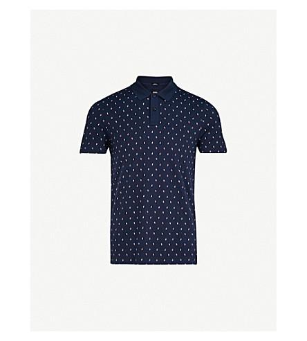 BOSS Geometric-printed cotton-piqué polo shirt (Navy