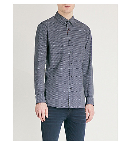 HUGO Extra slim-fit cotton shirt (Navy