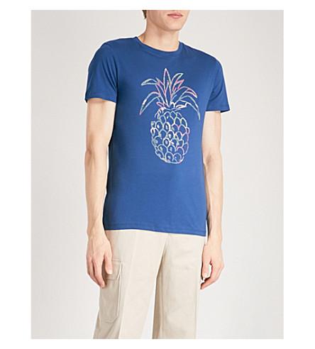 BOSS ORANGE Pineapple-print cotton-jersey T-shirt (Navy