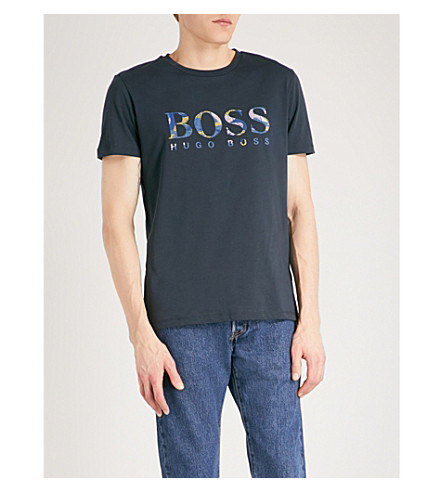 BOSS ORANGE Logo-detail cotton-jersey T-shirt (Dark+blue