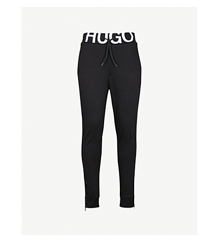 HUGO Logo-print tapered cotton-jersey jogging bottoms (Black