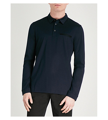 HUGO Slim-fit cotton-jersey polo shirt (Navy