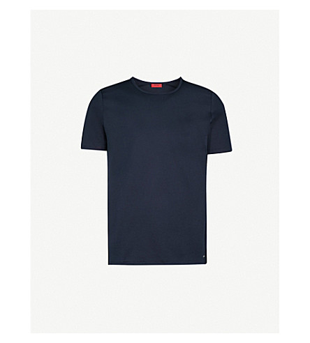 HUGO Crewneck cotton-twill T-shirt (Navy
