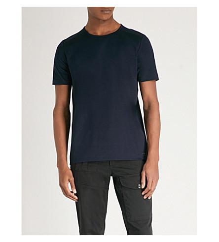 HUGO Crewneck cotton-twill T-shirt (Navy