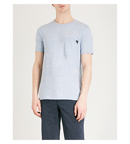 HUGO Contrast-detail cotton-jersey T-shirt (Light/pastel+blue