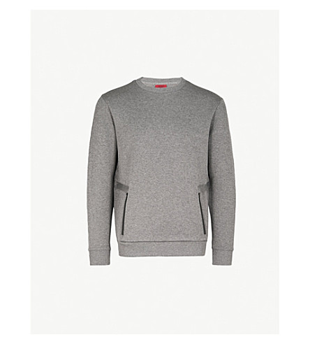 HUGO Zipped-pocket cotton-jersey sweatshirt (Open+grey