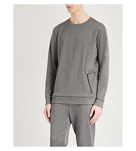 HUGO Zipped-pocket cotton-jersey sweatshirt (Open+grey