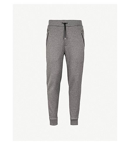 HUGO Zipped-pocket cotton-jersey jogging bottoms (Open+grey