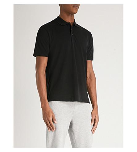 HUGO Logo-back cotton-piqué polo shirt (Black