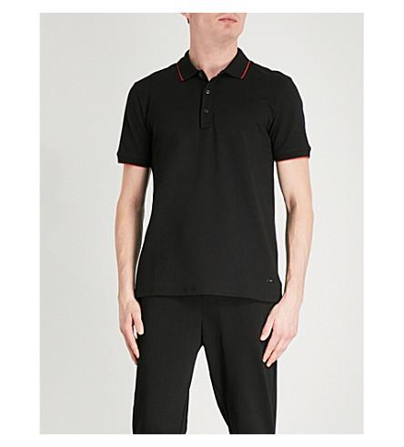 HUGO Slim-fit stretch-cotton polo shirt (Black