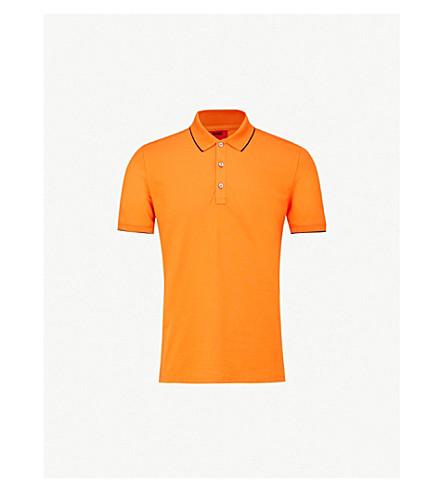 HUGO Slim-fit stretch-cotton polo shirt (Medium orange