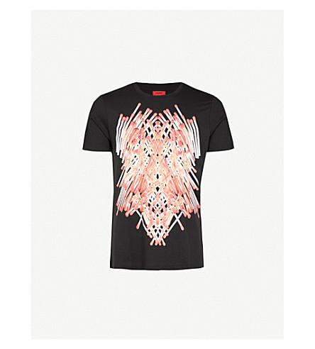 HUGO Matchstick-print crewneck cotton-jersey T-shirt (Black
