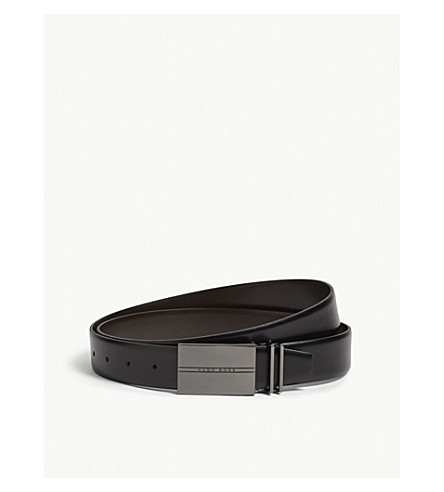 BOSS Interchangeable buckles and leather belt (Black