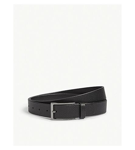 BOSS Woven texture leather belt (Black