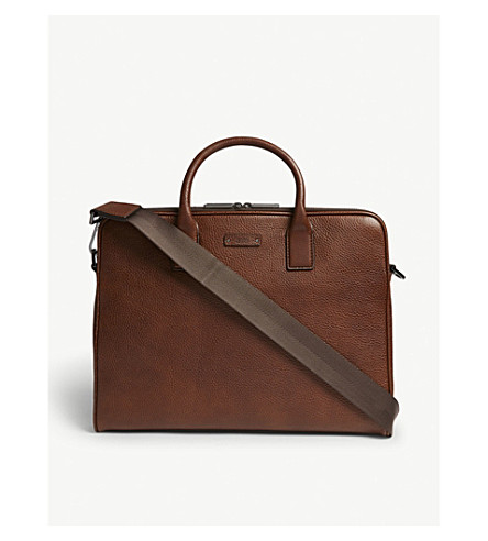 BOSS Logo grained leather document bag (Medium+brown