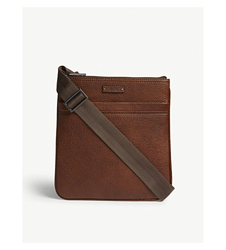 BOSS Grained leather cross-body bag (Medium+brown
