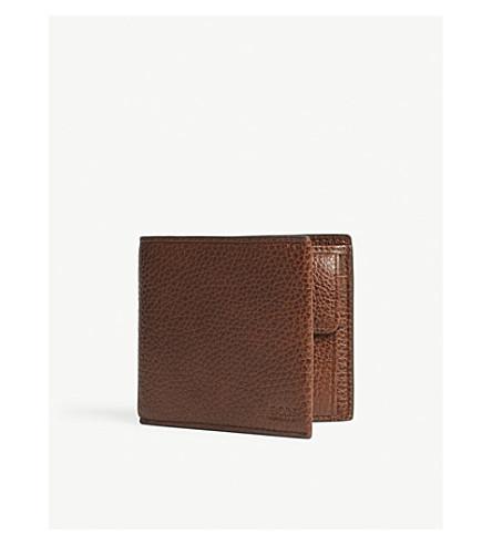 BOSS Traveller grained leather billfold wallet (Medium+brown