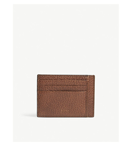 BOSS Traveller grained leather card holder (Medium+brown