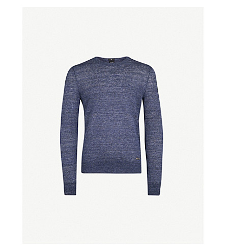 BOSS ORANGE Crewneck marled linen jumper (Dark+blue