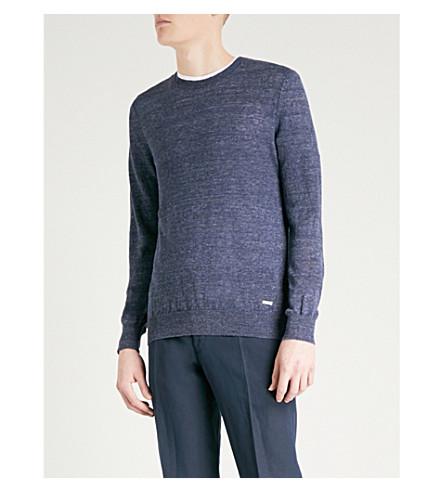 BOSS ORANGE Crewneck marled linen jumper (Dark+blue