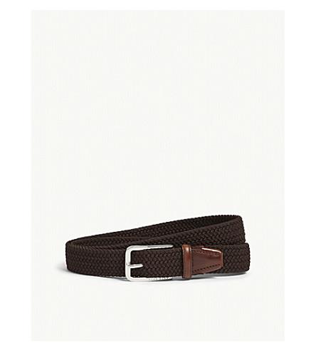 BOSS Woven elasticated belt (Dark+brown