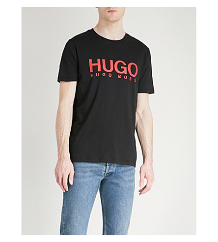HUGO Logo-print cotton-jersey T-shirt (Black
