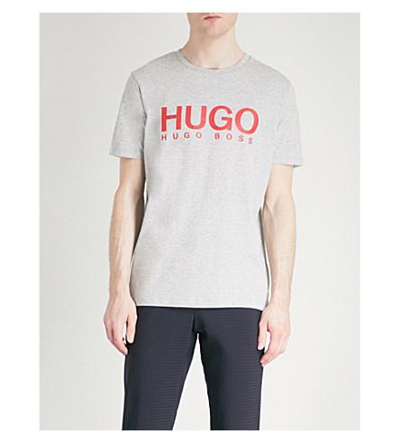 print cotton HUGO Logo HUGO T Open jersey Logo shirt grey xIZO1Hqtnw